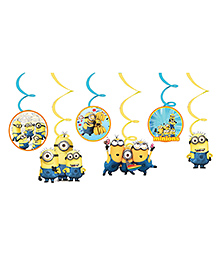 Party Propz Minion Themed Swirls Decoration Yellow & Blue - Pack Of 6