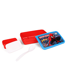 Marvel Spiderman Lunch Box With 2 In 1 Fork & Spoon - Red Blue