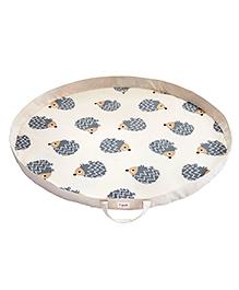 3 Sprouts Storage Bag Cum Play Mat Hedgehog Print - Grey & Off White