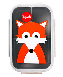 3 Sprouts Fox Print Lunch Box - Orange & Grey