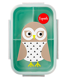 3 Sprouts Owl Print Lunch Box - Grey & Blue