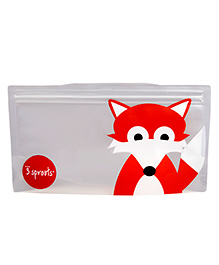 3 Sprouts Fox Print Reusable Snack Bag Pack Of 2 - Orange & Grey