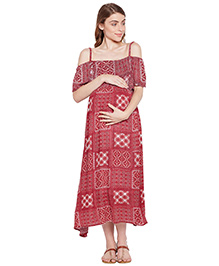 Oxolloxo Cold Shoulder Printed Maternity Dress - Red