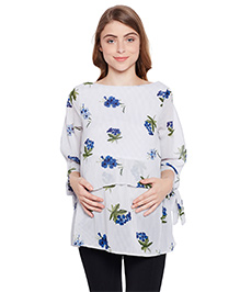 Oxolloxo Three Fourth Sleeves Maternity Top Floral Print - Off White