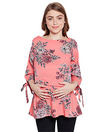 Oxolloxo Three Fourth Sleeves Maternity Top Floral Print - Coral