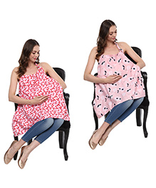 Wobbly Walk Nursing Covers Heart & Floral Print Pack Of 2 - Red Pink