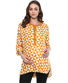 Wobbly Walk Three Fourth Sleeves Maternity Tunic Geometric Print - Yellow