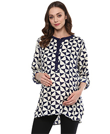 Wobbly Walk Three Fourth Sleeves Maternity Tunic Geometric Print - Blue