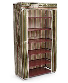 Six Compartment Storage Rack With Striped Cover - Green Brown