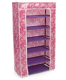 Six Compartment Storage Rack With Floral Printed Cover - Pink