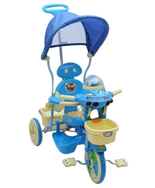 Fab N Funky Tricycle With Canopy N Push Handle Airplane Design -  Blue