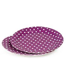 B Vishal Polka Dots Paper Plates Purple - Pack Of 10