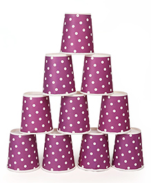 B Vishal Polka Dots Paper Cups Purple - Pack Of 10