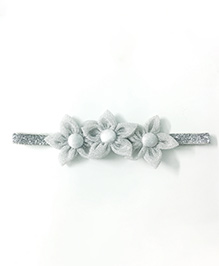 Knotty Ribbons Three Flower Applique Headband - Silver