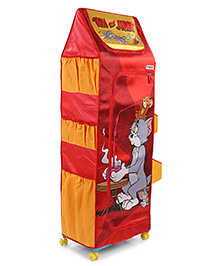Tom & Jerry 5 Shelves Folding Wardrobe With Wheels - Red Yellow