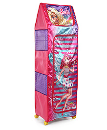 Barbie 4 Shelves Folding Wardrobe With Wheels - Pink Blue Purple