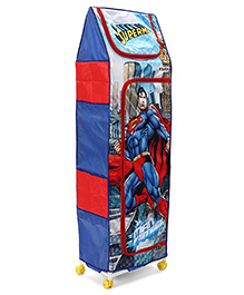 Superman 4 Shelves Storage Unit With Wheels  - Blue Red - 2296804