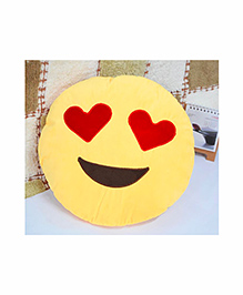 Frantic Heart Eyes Smiley Plush Cushion - Yellow