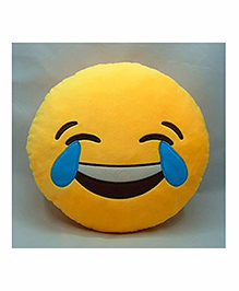 Frantic Laughing Tears Smiley Plush Cushion - Yellow