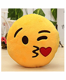 Frantic Flying Kiss Smiley Plush Cushion - Yellow
