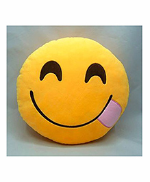 Frantic Hungry Smiley Plush Cushion - Yellow