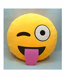 Frantic Winky Smiley Plush Cushion - Yellow