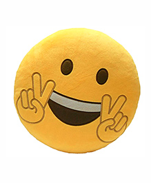 Frantic Victory Smiley Plush Cushion - Yellow