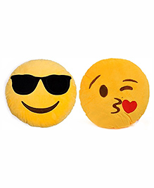 Frantic Cool Dude And Flying Kiss Smiley Plush Cushion Yellow - Pack Of 2