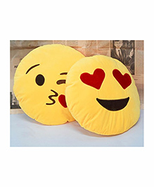 Frantic Heart Eye And Flying Kiss Smiley Plush Cushion Yellow - Pack Of 2