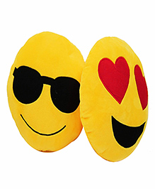 Frantic Cool Dude And Heart Eyes Smiley Plush Cushion Yellow - Pack Of 2