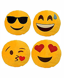 Frantic Smiley Plush Cushion Yellow - Pack Of 4 - 2297367