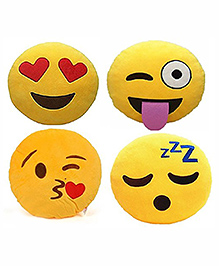 Frantic Smiley Plush Cushion Yellow - Pack Of 4 - 2297369
