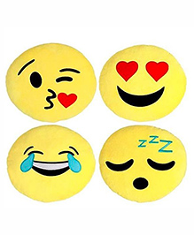 Frantic Smiley Plush Cushion Yellow - Pack Of 4 - 2297372
