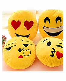 Frantic Smiley Plush Cushion Yellow - Pack Of 4 - 2297373