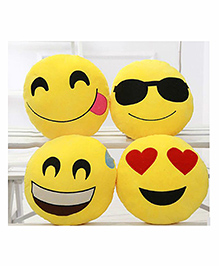 Frantic Smiley Plush Cushion Yellow - Pack Of 4 - 2297374