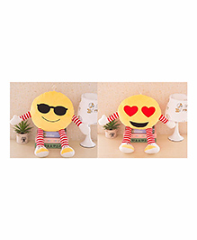 Frantic Smiley Plush Cushion With Hands & Legs Yellow - Pack Of 2 - 2297376