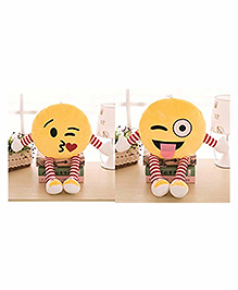 Frantic Smiley Plush Cushion With Hands & Legs Yellow - Pack Of 2 - 2297377