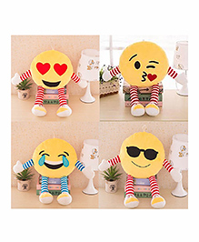 Frantic Smiley Plush Cushion With Stripe Hands And Legs Pack Of 4 - Yellow - 2297380