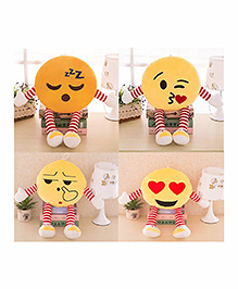 Frantic Smiley Plush Cushion With Stripe Hands And Legs Pack Of 4 - Yellow