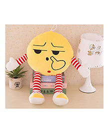 Frantic Smiley Plush Cushion With Stripe Hands And Legs - Yellow - 2297384