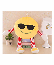 Frantic Smiley Plush Cushion With Stripe Hands And Legs - Yellow - 2297385