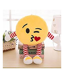 Frantic Flying Kiss Plush Cushion With Stripe Hands And Legs - Yellow