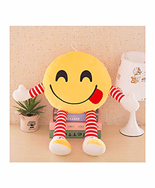 Frantic Smiley Plush Cushion With Stripe Hands And Legs - Yellow