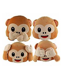 Frantic Monkey Faced Plush Cushions Pack Of 3 - Brown