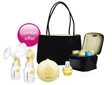 Medela - Swing Maxi Double Electric Breast Pump Plus Free Citystyle Bag and Calma Solitaire Teat