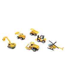 Marbles Super Builder Die Cast Vehicle Set Yellow - Pack Of 6