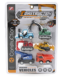 Marbles Die Cast Pull Back Action Construction Vehicles Multicolor - Pack Of 6