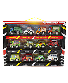 Marbles Pull Back Action Super Velocity Mini Vehicle Set Multicolor - Pack Of 12