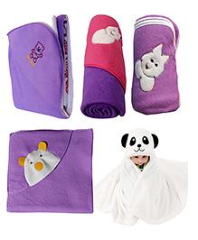 My NewBorn Premium Multipurpose Baby Wrappers Purple - Pack Of 5 - 2300319