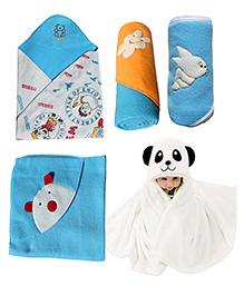 My NewBorn Premium Multipurpose Baby Wrappers Blue- Pack Of 5